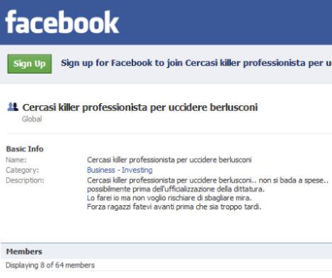 cercasi killer Berlusconi facebook
