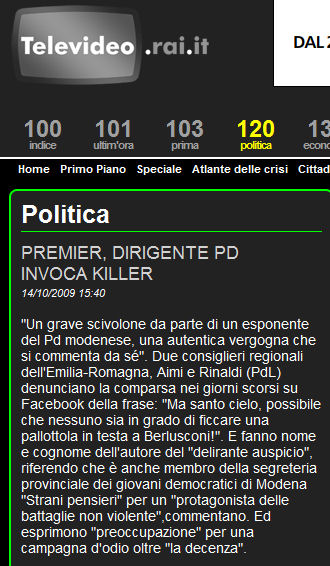 Minacce di morte a Berlusconi