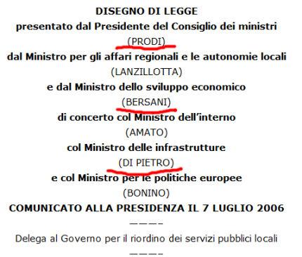 Ddl privatizzazione dell'acqua firmato da Bersani e Di Pietro