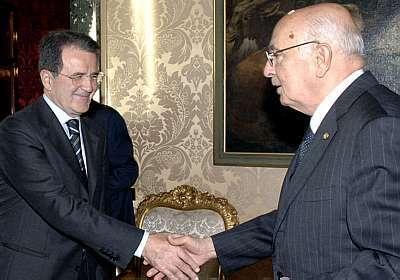 Romano Prodi e Giorgio Napolitano foto